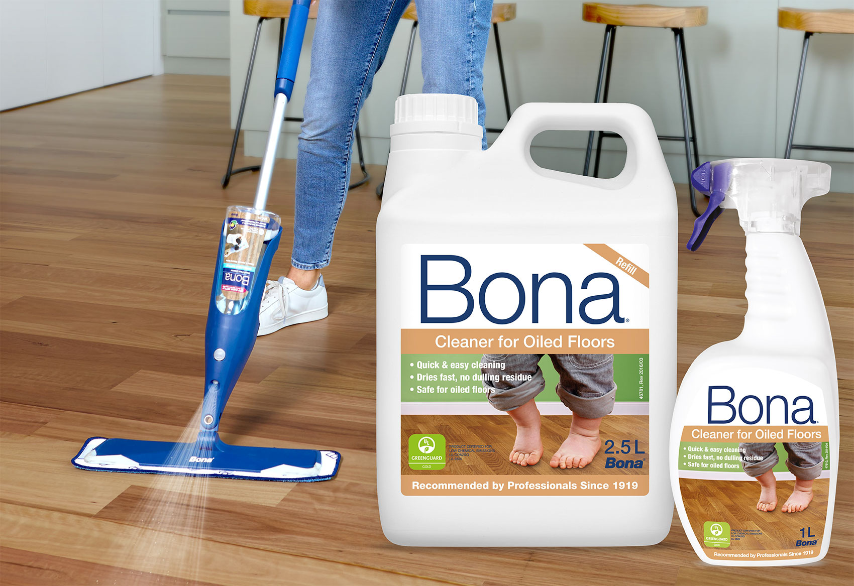 Bona Oiled Floors Cleaner & Refresher maintains and protects